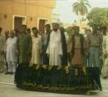 سانحہ مستونگ کے سولہ شہداء کی اجتماعی نماز جنازہ راولپنڈی کے آئی جے پی روڈ پرعلامہ ناصر عباس جعفری کی اقتداء میں ادا کر دی گئی۔