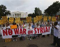 شام پر ممکنہ امریکی حملے کیخلاف وائٹ ہاوٴس کے سامنے احتجاجی مظاہرہ